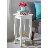 Porch & Den Alamo Heights Cloverleaf Wood Curved Leg End Table with Shelf