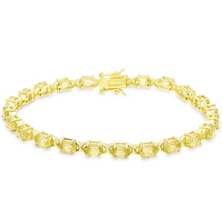 Dolce Giavonna Gold Over Sterling Silver Oval Cut Citrine XO Link Bracelet