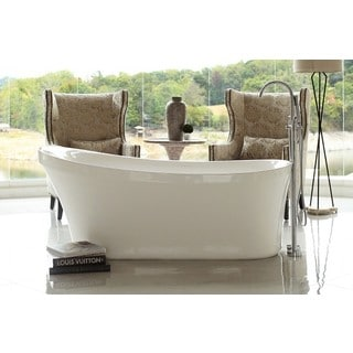 Signature Bath Calm Acrylic 67-inch x 28.5-inch x 28-inch Freestanding Bathtub