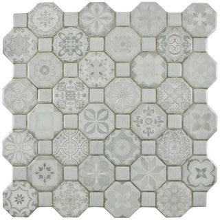 SomerTile 12.25x12.25-inch Tesseract White Ceramic Floor and Wall Tile (Case of 13)
