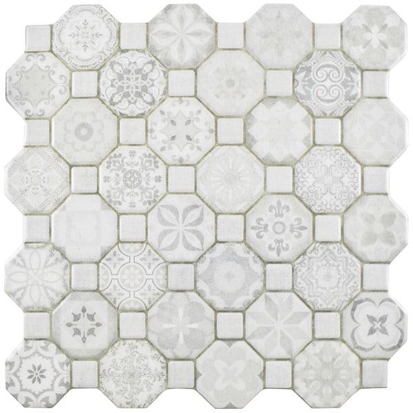 Somertile tesseract white ceramic floor for 13 inch ceramic floor tile