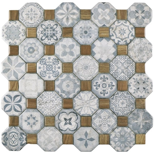SomerTile 12.25x12.25-inch Tesseract Blue Ceramic Floor and Wall Tile (13 tiles/14.11 sqft.)