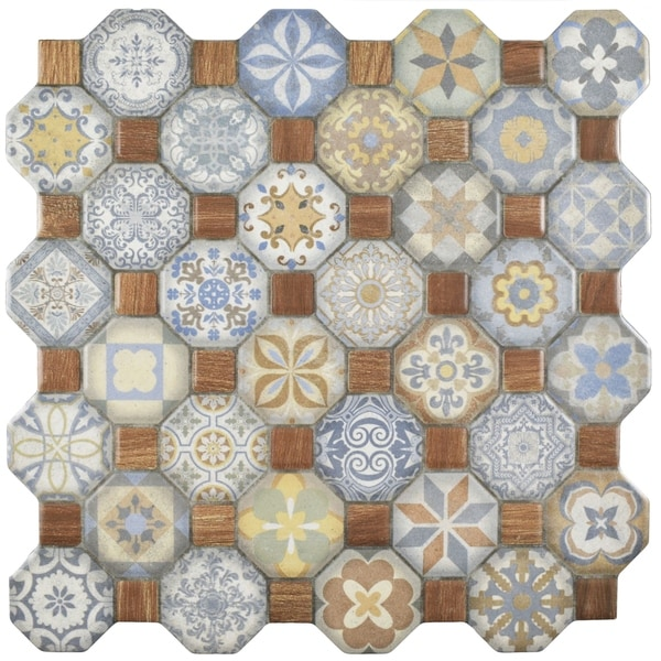 SomerTile 12.25x12.25-inch Tesseract Multi Ceramic Floor and Wall Tile (Case of 13)