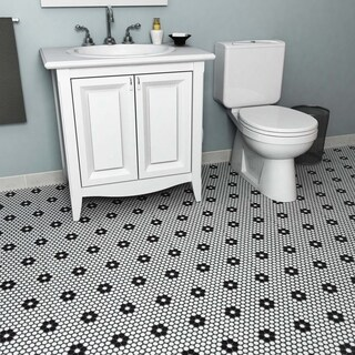 SomerTile 11.5x11.5-inch Victorian Penny Matte White with Heavy Flower Porcelain Floor and Wall Tile