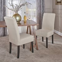 T-stitch Pattern Beige Fabric Dining Chair (Set of 2) by Christopher Knight Home