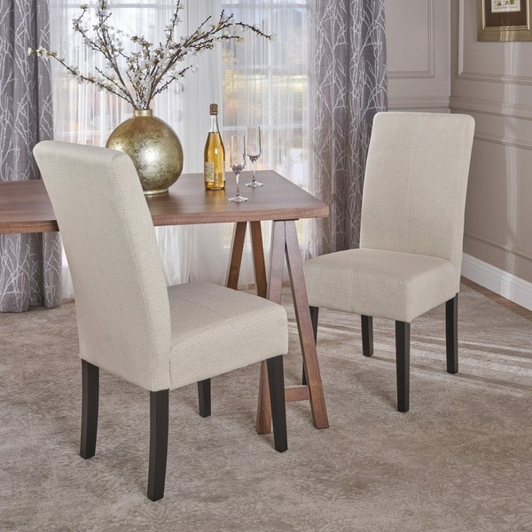 Shop T-stitch Pattern Beige Fabric Dining Chair (Set Of 2