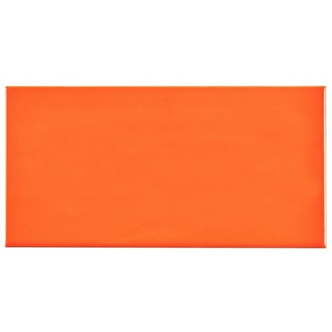 SomerTile 3x6-inch Malda Subway Glossy Tangerine Orange Ceramic Wall Tile (136 tiles/17 sqft.)