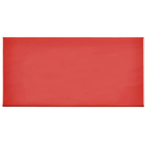 SomerTile 3x6-inch Malda Subway Glossy Apple Red Ceramic Wall Tile (136 tiles/19.18 sqft.)