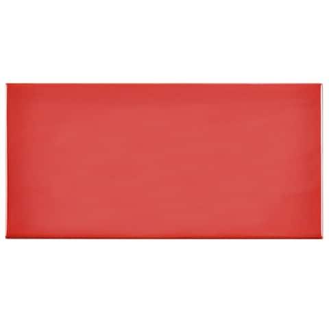 SomerTile 3x6-inch Malda Subway Glossy Apple Red Ceramic Wall Tile