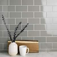 SomerTile 3x6-inch Malda Subway Glossy Warm Grey Ceramic Wall Tile (136 tiles/19.18 sqft.)