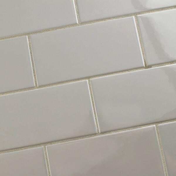 Shop Somertile 3x6 Inch Malda Subway Glossy Warm Grey Ceramic Wall