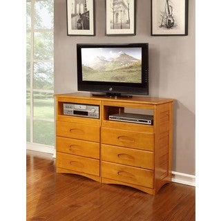 Honey-finished Pine Wood 6-drawer Entertainment Dresser