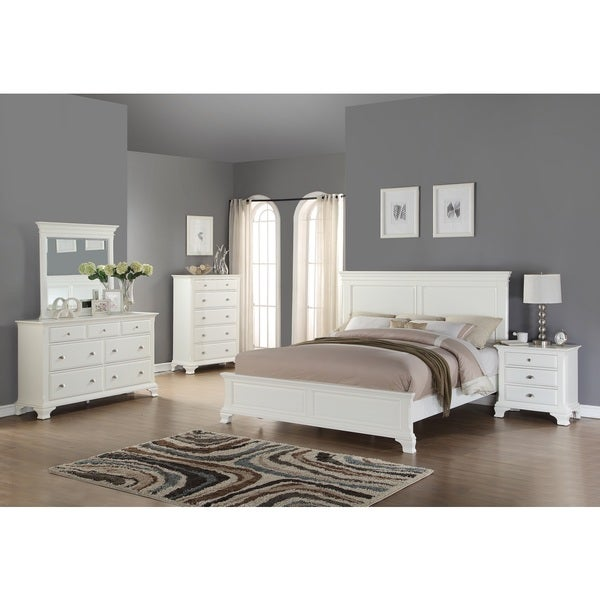 Laveno 012 white wood bedroom furniture set includes queen bed dresser mirror night stand White wooden bedroom furniture sets