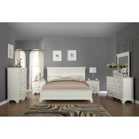 Laveno 012 White Wood Bedroom Furniture Set Includes Queen Bed Dresser Mirror