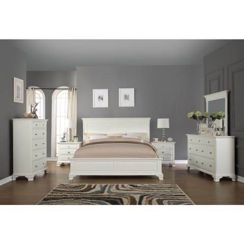 Laveno 012 White Wood Bedroom Furniture Set, Includes Queen Bed, Dresser, Mirror, 2 Night Stands, and Chest