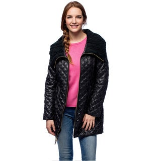 Via Spiga Women's Diamond Quilted Walker With Knit Collar (As Is Item)