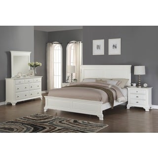 Laveno 012 White Wood Bedroom Furniture Set, Includes Queen Bed, Dresser, Mirror and 2 Night Stands