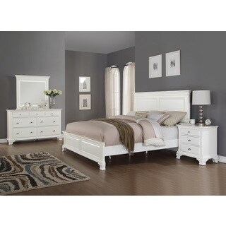 Laveno 012 White Wood Bedroom Furniture Set, Includes King Bed, Dresser, Mirror and Night Stand