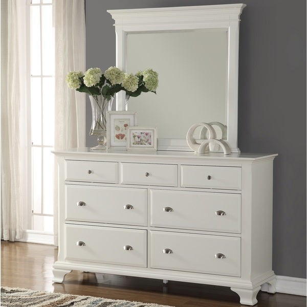 laveno white wood 7 drawer dresser and mirror free shipping today