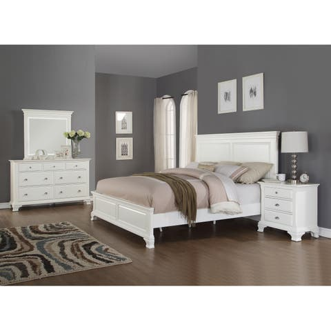Laveno 012 White Wood Bedroom Furniture Set Includes Queen Bed Dresser Mirror And