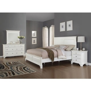 Laveno 012 White Wood Bedroom Furniture Set, Includes Queen Bed, Dresser, Mirror and Night Stand