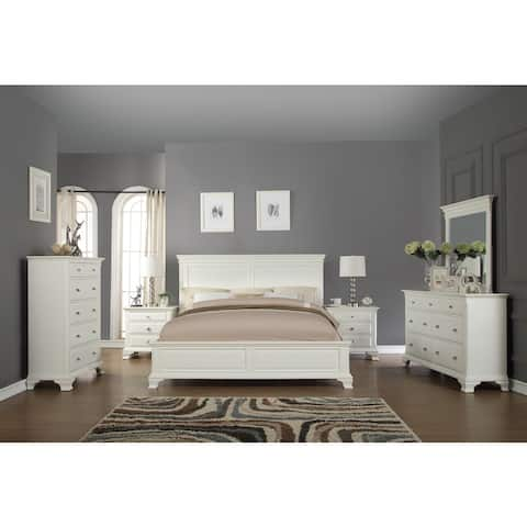 Laveno 012 White Wood Bedroom Furniture Set, Includes King Bed, Dresser, Mirror, 2 Night Stands, and Chest