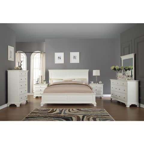 Laveno White Wood King 6-piece Bedroom Furniture Set