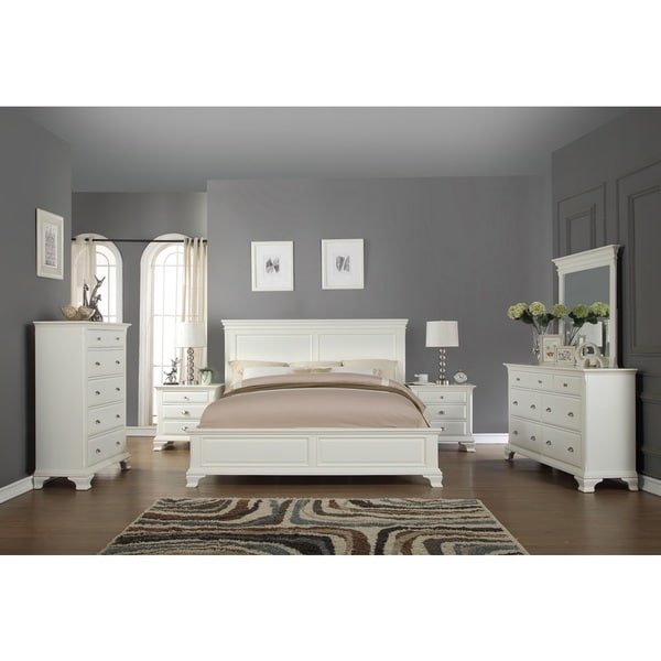 Laveno 012 White Wood Bedroom Furniture Set Includes King Bed Dresser Mirror