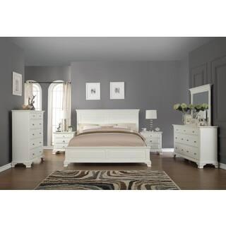 Laveno 012 White Wood Bedroom Furniture Set Includes King Bed Dresser Mirror