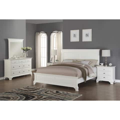 Laveno 012 White Wood Bedroom Furniture Set Includes King Bed Dresser Mirror And