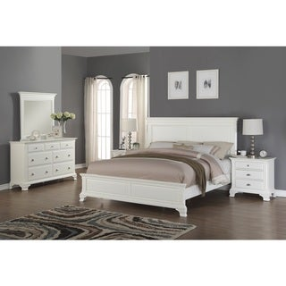 Laveno 012 White Wood Bedroom Furniture Set, Includes King Bed, Dresser, Mirror and 2 Night Stands
