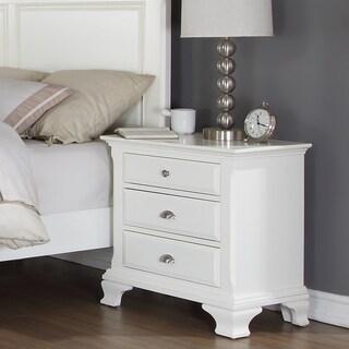 Laveno White Wood 3-drawer Night Stand