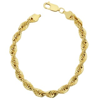 Fremada 14k Yellow Gold Filled Men's Bold 6-mm Rope Chain Bracelet (7.5 or 8.5 inches)