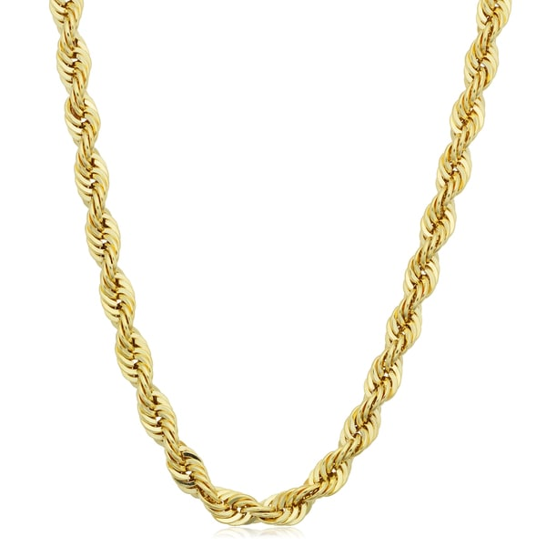 Men's 14k Yellow Gold Filled 4.2mm Rope Chain Necklace (16-36 inches)