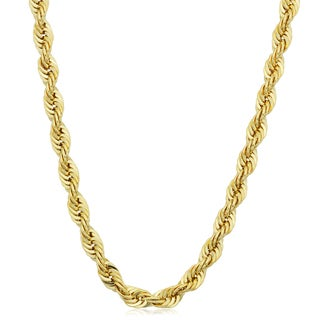 Fremada Men's Yellow Gold Filled 4.2mm Rope Chain Necklace (16 - 36 inches) (More options available)