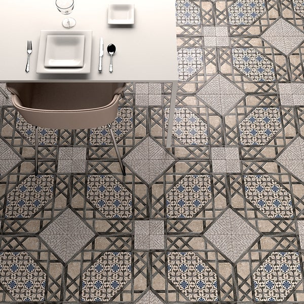 Somertile 18x18 inch oliva gris ceramic floor and wall for 18 inch tiles floor
