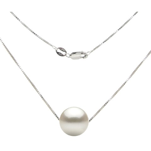 """DaVonna Sterling Silver Box Chain with 11-11.5mm Freshwater Pearl Pendant Necklace 18"""""""