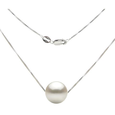 DaVonna Sterling Silver Box Chain with 11-11.5mm Freshwater Pearl Pendant Necklace 18""