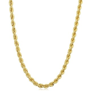 Fremada Yellow Gold Filled Men's 3.2-mm Rope Chain Necklace (16 - 36 inches) (More options available)