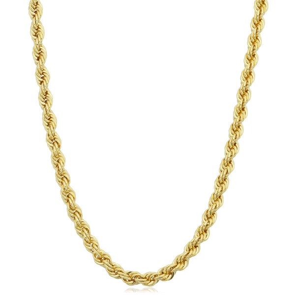 Fremada Yellow Gold Filled Men's 3.2-mm Rope Chain Necklace (16 - 36 inches)
