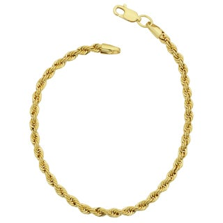Fremada 14k Yellow Gold Filled Men's 3.2-mm Rope Chain Bracelet (7.5 or 8.5 inches) (2 options available)
