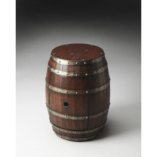 Butler Transitional Round Calumet Rustic Barrel Table - Dark Brown