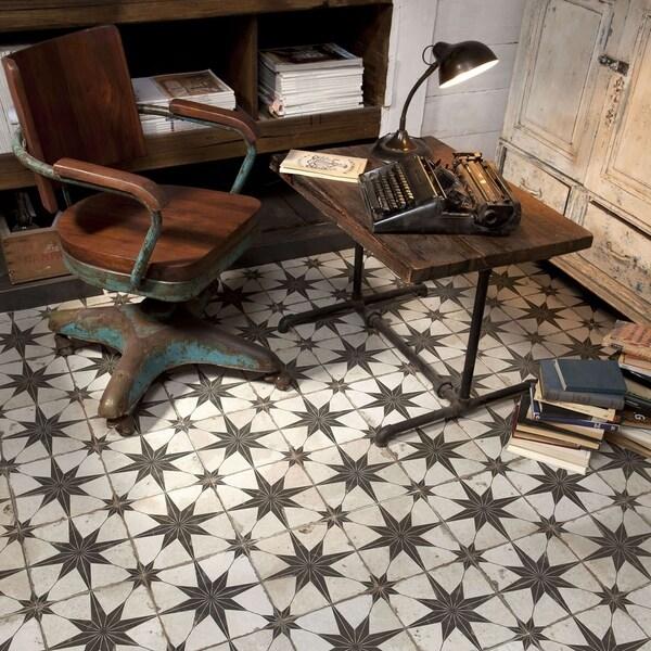 Somertile Royals Estrella Nero Ceramic Floor And Wall Tile