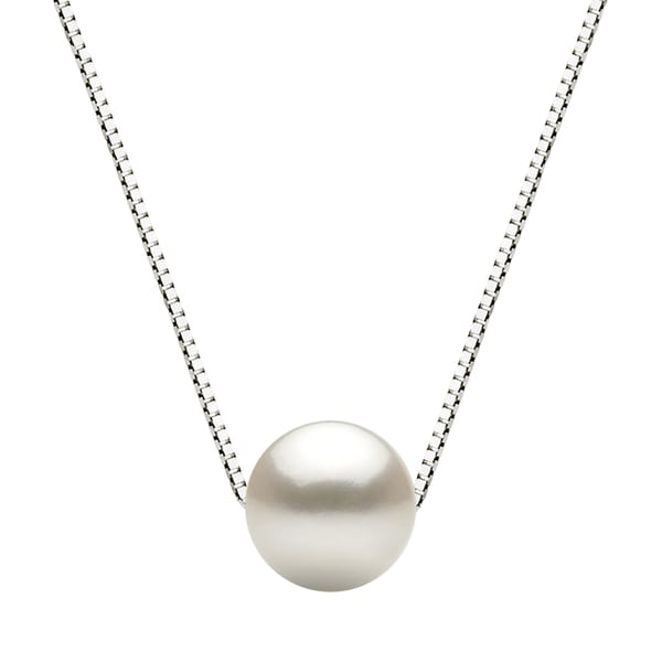 """DaVonna Sterling Silver Box Chain with 11-12mm White Round Freshwater Pearl Pendant Necklace, 18"""""""