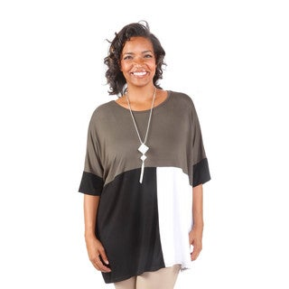 Hadari Women's Plus Size Colorblock Tunic (One Size)