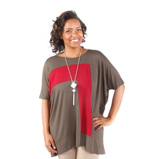 Hadari Women's Plus Size Contrast Tunic (One Size)