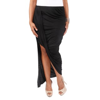 Hadari Women's Plus Size Asymmetrical Knit Skirt