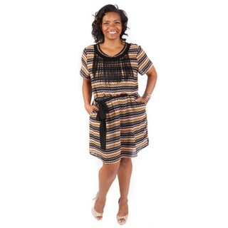 Hadari Women's Plus Size Crewneck Fringe Detail Short Sleeve Cinched Waist Shift Dress