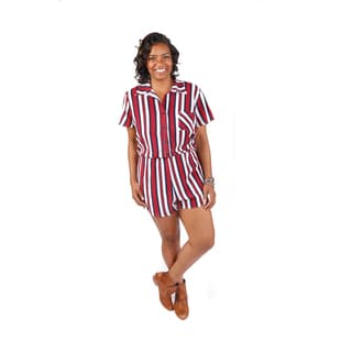 Hadari Women's Plus Size Short Sleeve Button-up Romper