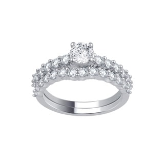 Divina 14k White Gold 1 5ct TDW Diamond Bridal Set